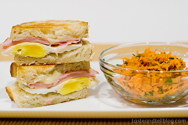 Ham, Egg and Cheese Sandwiches with Carrot-Parsley Salad | www.tasteandtellblog.com