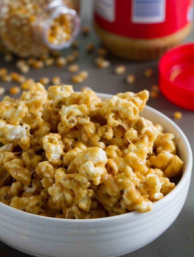 Peanut butter lovers won't be able to stay away from this Peanut Butter Popcorn - popcorn that is coated with a sweet and sticky peanut butter coating.