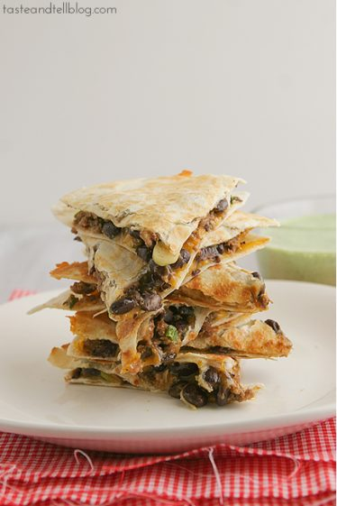Meatloaf Quesadillas with Cilantro Cream | www.tasteandtellblog.com