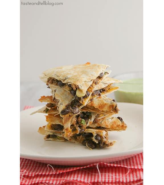 Meatloaf Quesadillas with Cilantro Cream