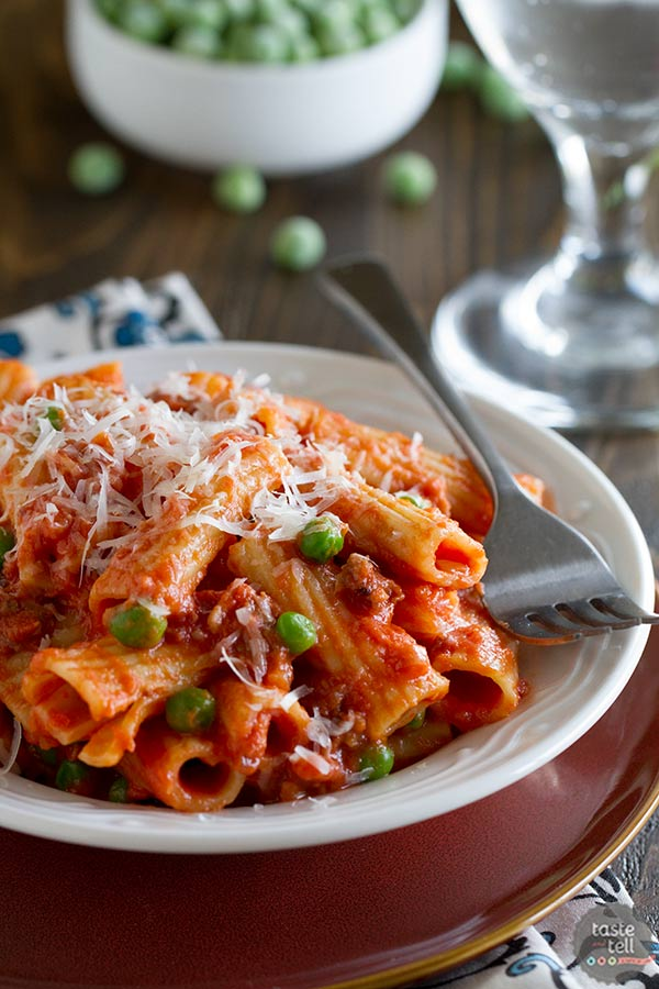 Rigatoni with sausage peas tomatoes and cream taste and tell this rigatoni with sausage peas tomatoes and cream is easy enough for a weeknight forumfinder Gallery