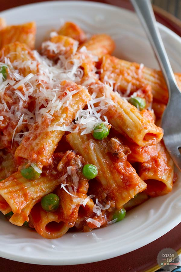 Rigatoni with Sausage, Peas, Tomatoes and Cream - super comforting and super easy!