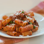 Cookbook of the Month Recipe – Rigatoni wtih Sausage, Peas, Tomatoes and Cream
