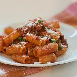 Rigatoni with Sausage, Peas, Tomatoes and Cream | www.tasteandtellblog.com