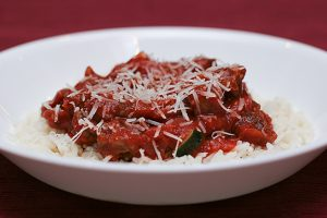Italian Sausage and Red Sauce with Rice | www.tasteandtellblog.com
