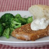 Pecan Crusted Pork Chops with Creamy Mustard Sauce | www.tasteandtellblog.com