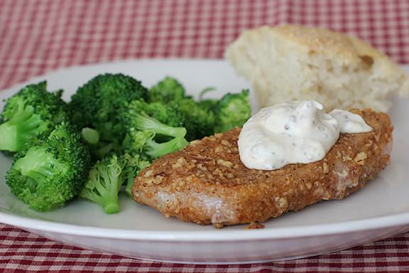 Pecan Crusted Pork Chops with Creamy Mustard Sauce