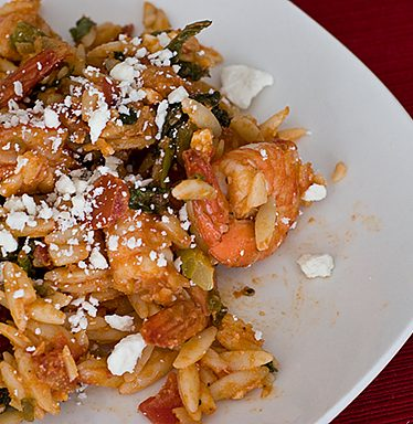 Shrimp with Orzo and Tomatoes | www.tasteandtellblog.com