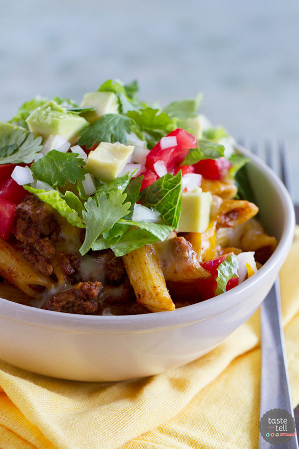 Bring some pasta into the mix next Taco Tuesday with this Taco Pasta Toss that has all of the flavors of tacos in a family friendly pasta dish.