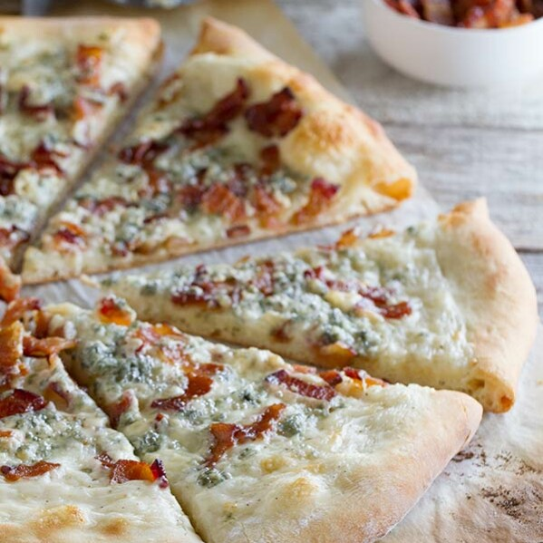 Blue Cheese and Bacon Pizza on www.tasteandtellblog.com