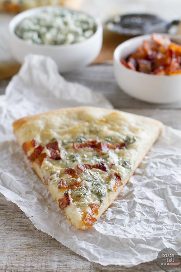 Blue Cheese and Bacon Pizza - gourmet pizza at home.