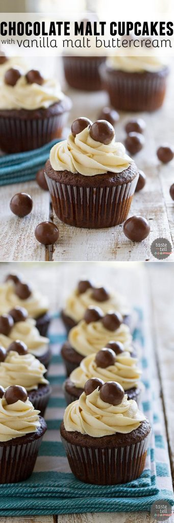 Chocolate Malt Cupcakes with Vanilla Malt Buttercream - rich chocolate cupcakes with a hint of malt are topped with a fluffy buttercream infused with even more malt flavor.