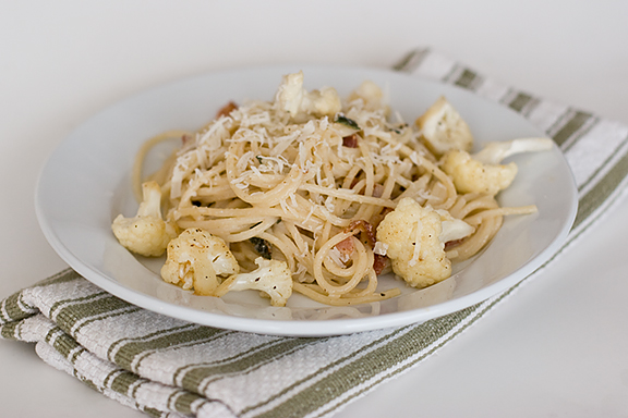Pasta with Bacon and Cauliflower | www.tasteandtellblog.com