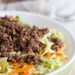 Ground beef is flavored with plum sauce and served over seasoned Napa cabbage in this Asian Beef and Cabbage Salad Recipe.
