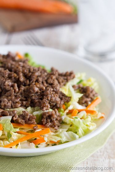 edceb09a3 Ground beef is flavored with plum sauce and served over seasoned Napa  cabbage in this Asian