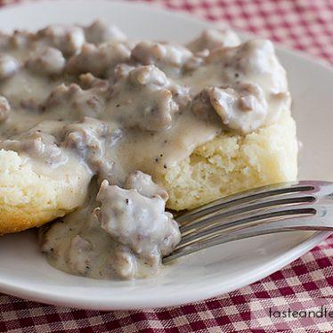 Biscuits and Sausage Gravy | www.tasteandtellblog.com