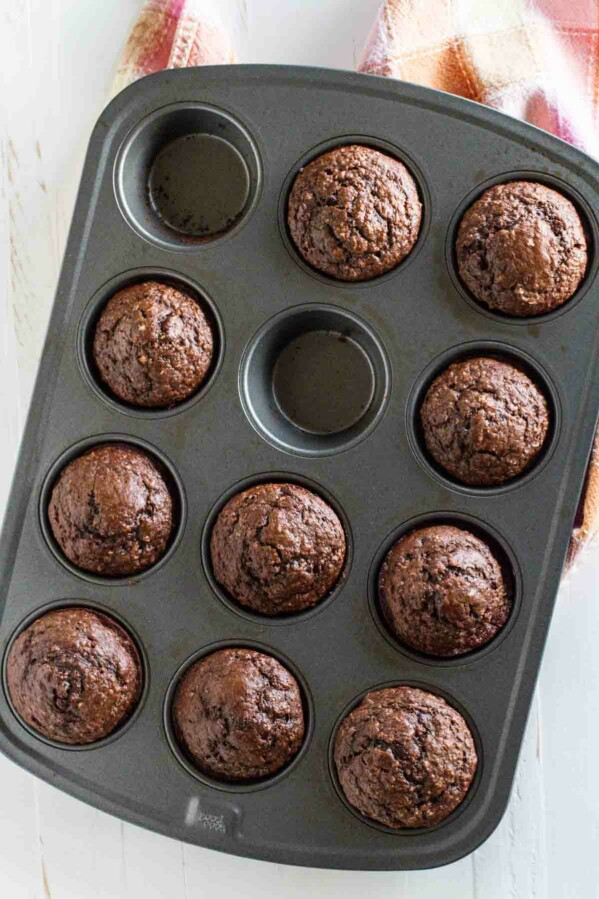 Cocoa Oatmeal Muffins in a Muffin Tin