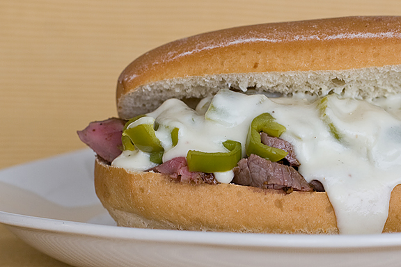 Flat Iron Steak Sammies with Provolone Sauce