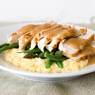 Orange-Balsamic Chicken with Asparagus, Green Beans and Polenta | www.tasteandtellblog.com