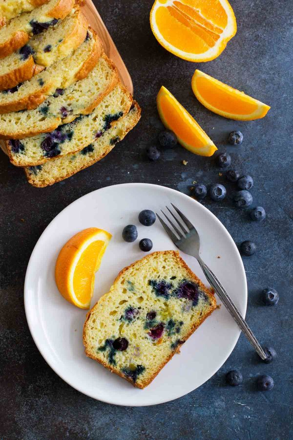 slices of Orange Blueberry Quick Bread