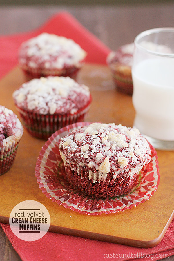 Red velvet and cream cheese come together to form these Red Velvet Cream Cheese Muffins - the perfect breakfast for red velvet lovers.