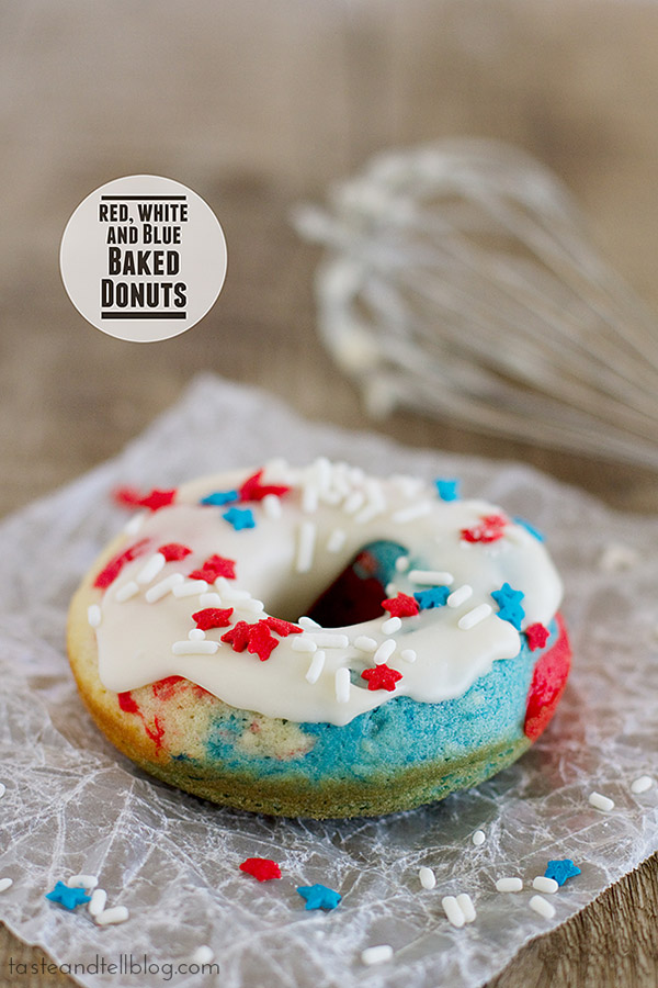 A delicious vanilla baked donut takes on red, white and blue for a patriotic breakfast treat. These Red, White and Blue Baked Donuts make a great holiday treat!