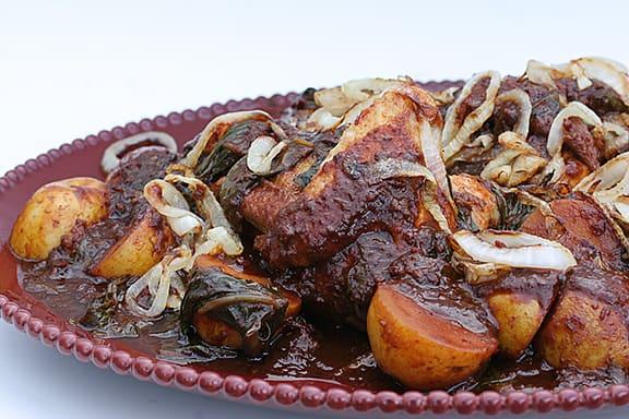 Red-Chile Braised Chicken   www.tasteandtellblog.com