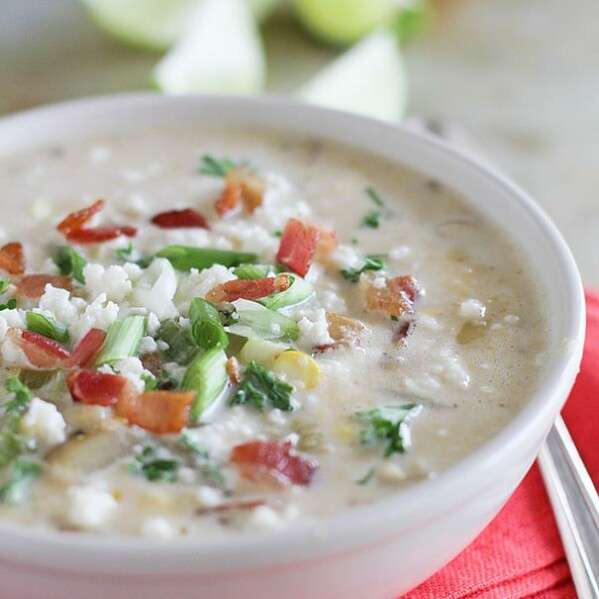 Fresh corn is scraped from the cob and added to this creamy Chipotle Corn Chowder recipe with an added kick of flavor from chipotle chiles.