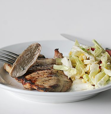 Grilled Lemon Chicken with Cabbage and Corn Slaw | www.tasteandtellblog.com