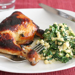 Honey-Lime Roast Chicken with Garlicky Creamed Corn and Spinach | www.tasteandtellblog.com