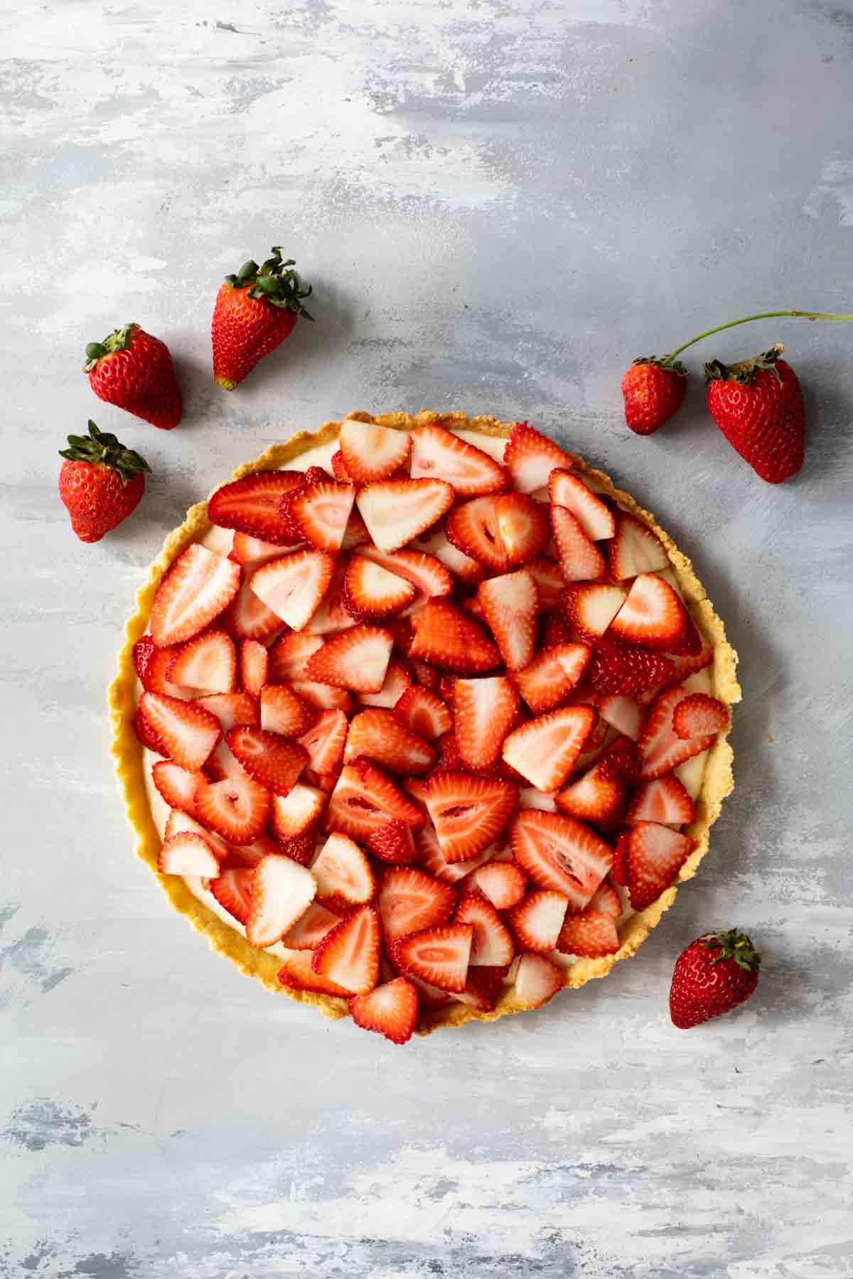Creamy Strawberry Tart Recipe With Fresh Strawberries