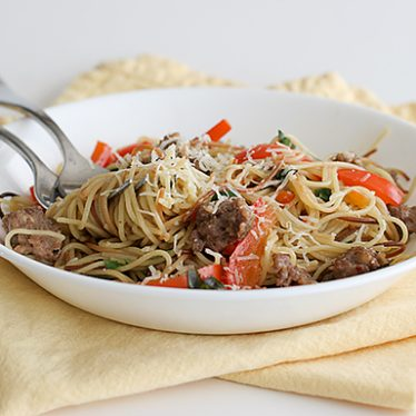 Toasted Angel Hair with Sausage and Peppers | www.tasteandtellblog.com