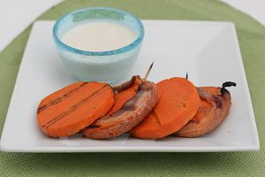 Bacon Wrapped Sweet Potato Kabobs | www.tasteandtellblog.com