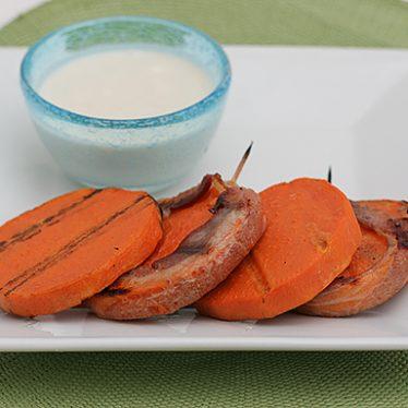 Bacon Wrapped Sweet Potato Kabobs | www.tasteandtellblog.com