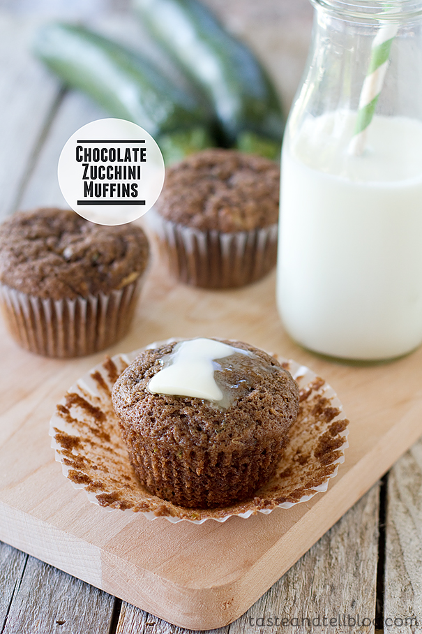 Chocolate Zucchini Muffins | www.tasteandtellblog.com
