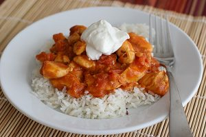 Spicy Peanut Chicken Over Rice | www.tasteandtellblog.com