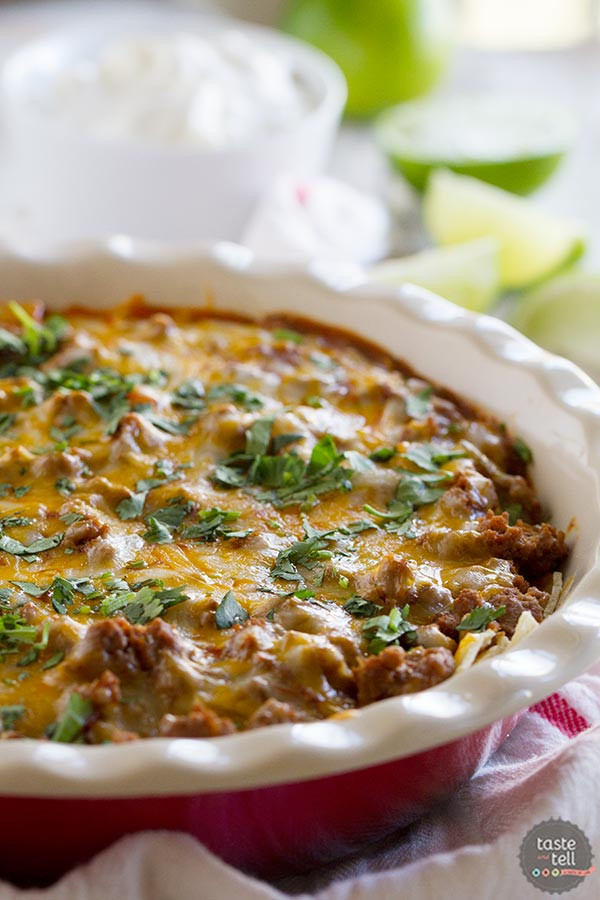 Enchiladas without all the work - this Beef Enchilada Casserole is family friendly and done in under 30 minutes!