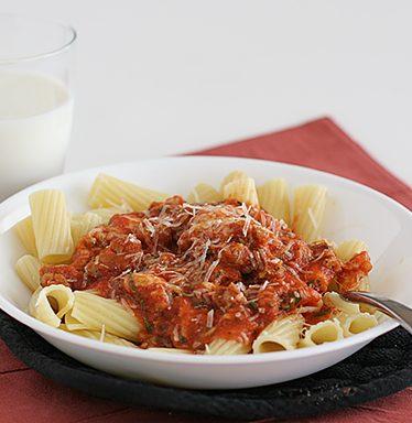 Rigatoni with Cheesy Tomato-Sausage Sauce | www.tasteandtellblog.com