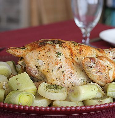 Roast Dill-Scented Chicken with Leeks and Potatoes | www.tasteandtellblog.com