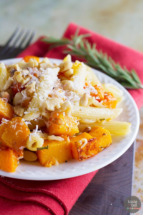 This vegetarian Roasted Butternut Squash Pasta with Brown Butter and Rosemary is made for fall! It is filled with roasted butternut squash, pasta and brown butter, and is a great cold night dinner idea!