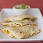 Chicken-Cheddar Quesadillas with White Bean-Green Pea Guacamole | www.tasteandtellblog.com