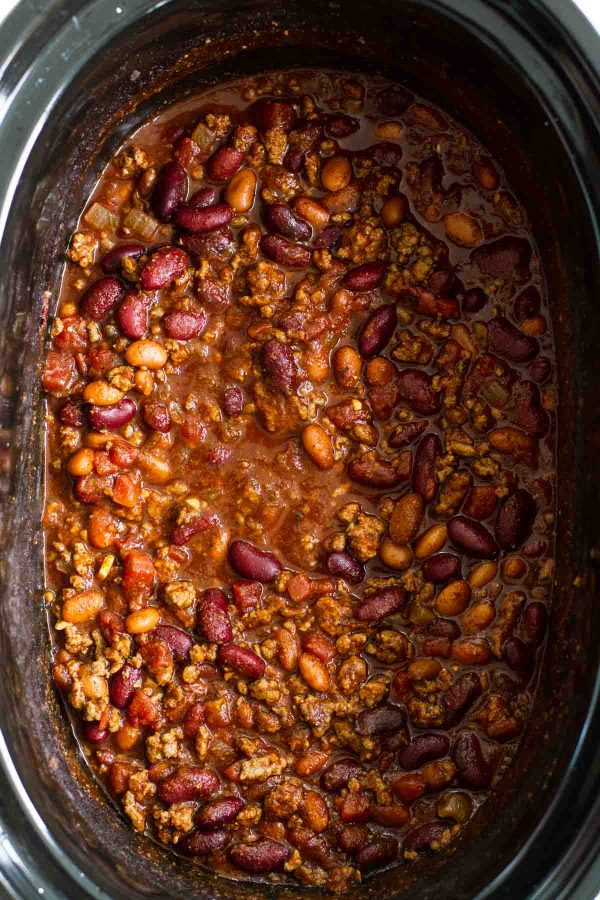 Crock Pot Chili in a slow cooker