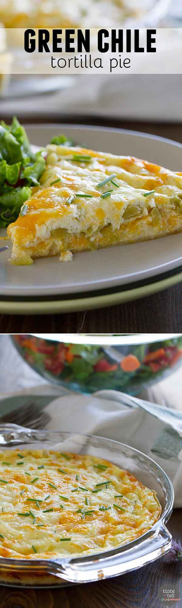 This Green Chile Tortilla Pie is crowd pleasing and super easy and a little unconventional by using a tortilla as the crust.