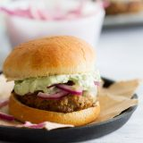 A fun alternative to regular burgers, these Poblano Pepper Slider Burgers are packed with pepper flavor. They are topped with marinated onions and a creamy guacamole to really take them over the top.