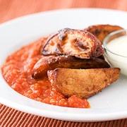 Crispy Potatoes with Spicy Tomato Sauce   www.tasteandtellblog.com