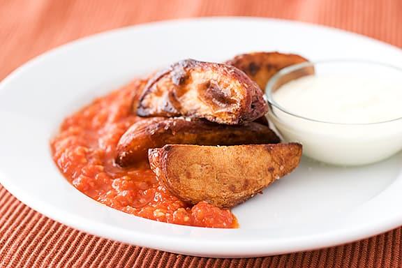 Crisp Potatoes with Spicy Tomato Sauce | www.tasteandtellblog.com