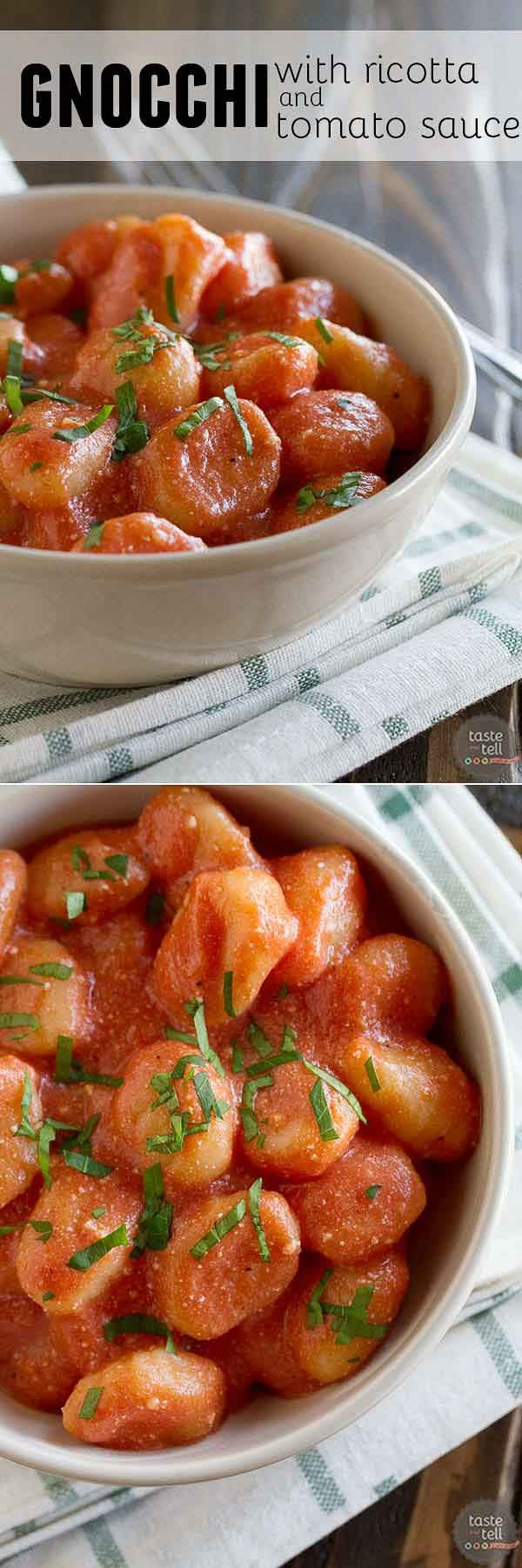 It doesn't get much easier than this Ricotta Gnocchi with Tomato Sauce. Gnocchi is cooked and combined with a simple tomato sauce and ricotta.