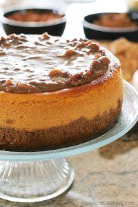 Larger-Than-Life Praline Cheesecake | www.tasteandtellblog.com