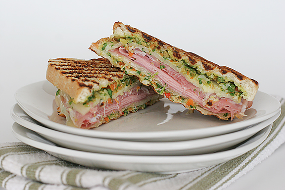Muffuletta-Style Grilled Ham-and-Cheese Sandwiches