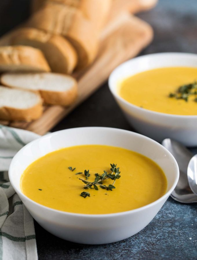 Slow Cooker Creamy Butternut Squash Soup in a bowl